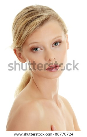 Young beautiful blond woman, isolated on white - stock photo
