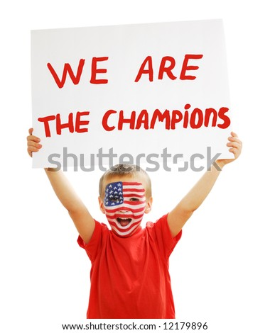 Young beautiful boy holding the supporting  poster - stock photo