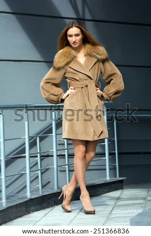 Young beautiful brown-haired woman in a fashionable brown coat with a fur collar on a background of gray wall - stock photo
