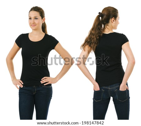 Young beautiful brunette female with blank black shirt, front and back. Ready for your design or artwork. - stock photo