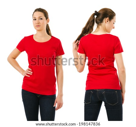 Young beautiful brunette female with blank red shirt, front and back. Ready for your design or artwork. - stock photo