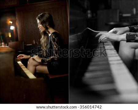 Young beautiful brunette woman in elegant black dress playing on piano. Sensual romantic lady with long dark hair in luxurious interior. Attractive girl posing with a vintage piano in semi-darkness - stock photo