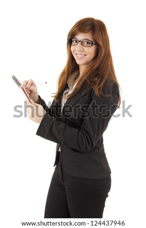 Young beautiful business woman over white background