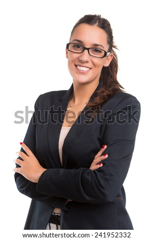 Young beautiful business woman posing isolated - stock photo