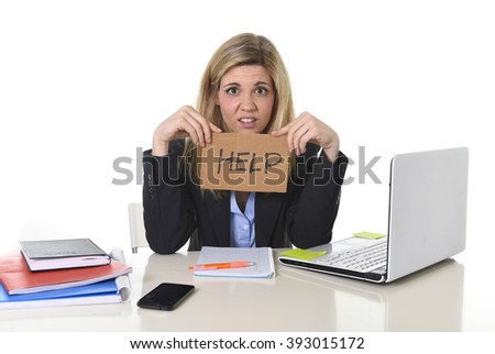 young beautiful business woman suffering stress working at office computer desk asking for help feeling tired and desperate looking overworked overwhelmed and frustrated - stock photo