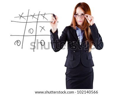 young beautiful  business woman tic-tac-toe game - stock photo