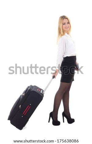 young beautiful business woman with suitcase isolated on white background - stock photo