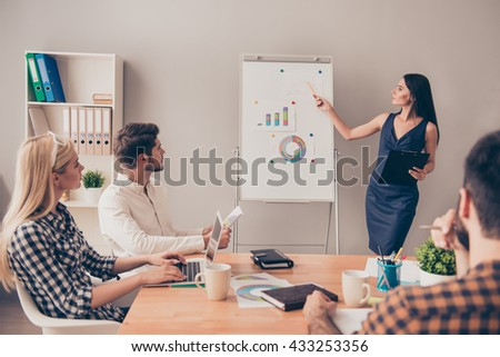 young beautiful businesswoman at the conference make  presentation at flipchart - stock photo