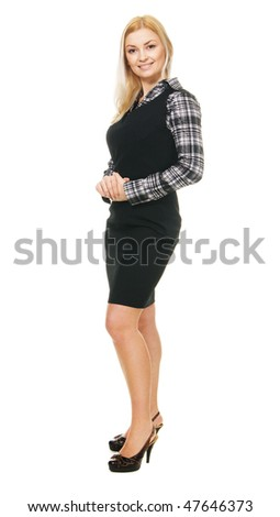 Young beautiful businesswoman full length portrait - stock photo