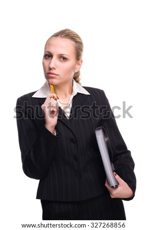 Young beautiful businesswoman isolated on white - stock photo