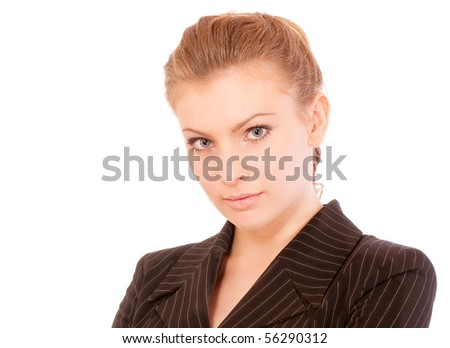 Young beautiful businesswoman, isolated on white background.