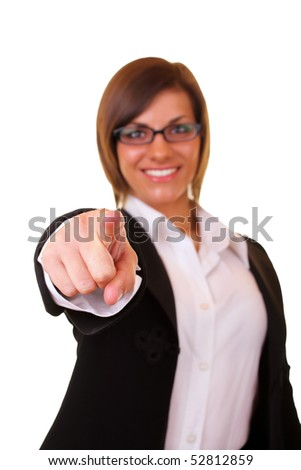 young beautiful businesswoman pointing on you on white background