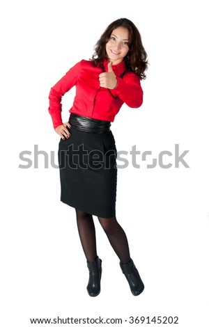 Young beautiful businesswoman showing thumb up gesture. Isolated over white background - stock photo