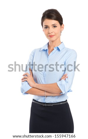 Young Beautiful Businesswoman With Arm Crossed Isolated Over White Background - stock photo