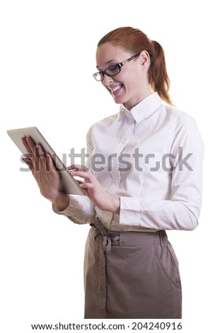 Young beautiful businesswoman with digital tablet