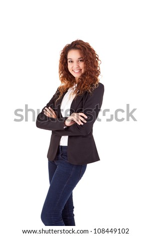 Young beautiful casual business woman posing