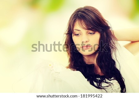 Young beautiful caucasian bride - stock photo