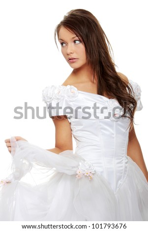 Young beautiful caucasian bride  isolated on white background - stock photo