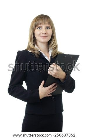 Young beautiful Caucasian business woman with blue eyes waist up studio shot on white background (isolated). Looking at camera and smiling. Holding black file holder. - stock photo