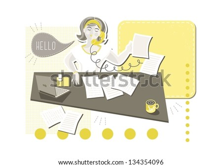 young beautiful caucasian type woman in her office doing paperwork answering phone call with blank yellow frame with place for your text cartoon illustration on white background raster version - stock photo