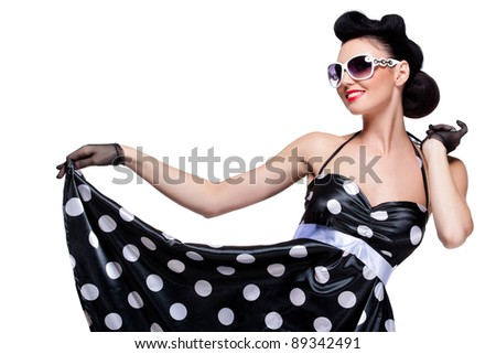 young beautiful caucasian woman posing, isolated over white, retro styling - stock photo