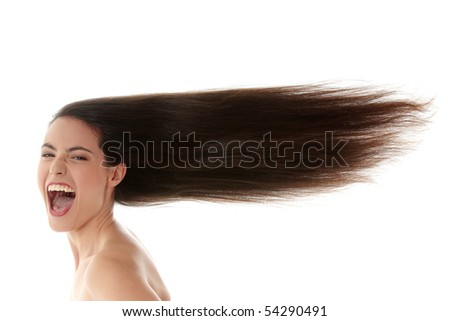 Young beautiful caucasian woman with long hairs - stock photo