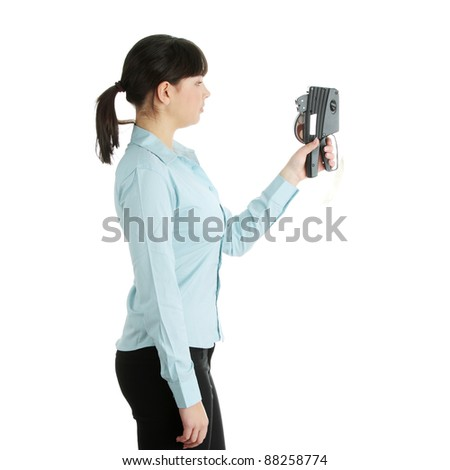 Young beautiful caucasian woman worker, setting price labels, isolated on white - stock photo