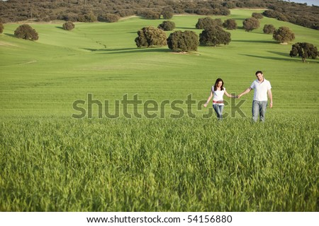 Young beautiful couple hand by hand on natural background. - stock photo