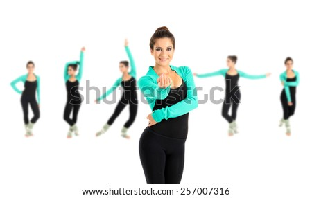Young beautiful dancer isolated on white, different poses in collage - stock photo