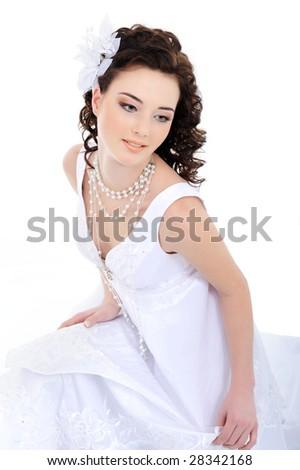 Young beautiful elegant bride - white background - stock photo