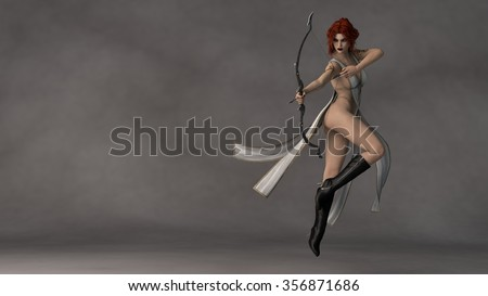 young beautiful fantasy archer girl - stock photo