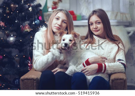 Young beautiful female cute little girl smiling and posing to camera, sitting in gray chair and holding dog