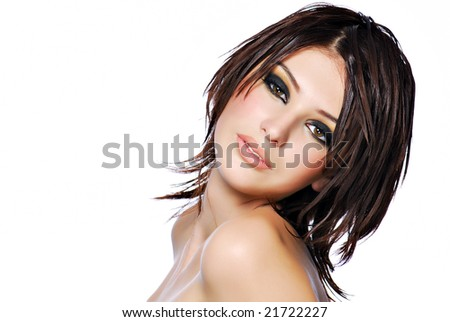 young beautiful female teenager with creativity hairstyle - stock photo