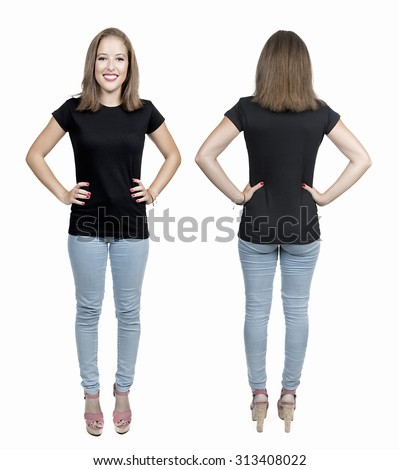 Young beautiful female with blank black shirt, front and back. Ready for your design or artwork.full body