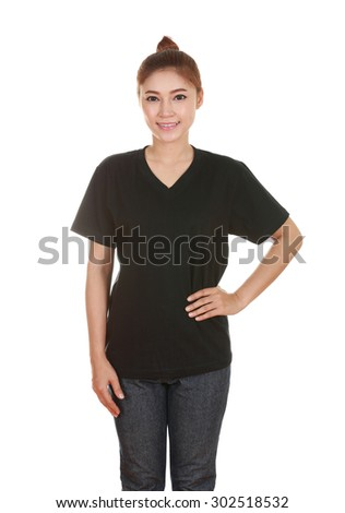young beautiful female with blank black t-shirt isolated on white background - stock photo