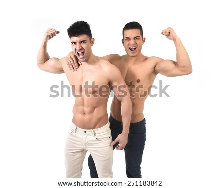 young beautiful gay couple of homosexual attractive men together in love happy having fun showing biceps and naked torso with ripped fit body and abdomen six pack - stock photo