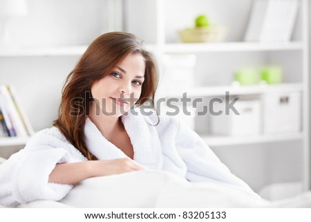 Young beautiful girl at home - stock photo