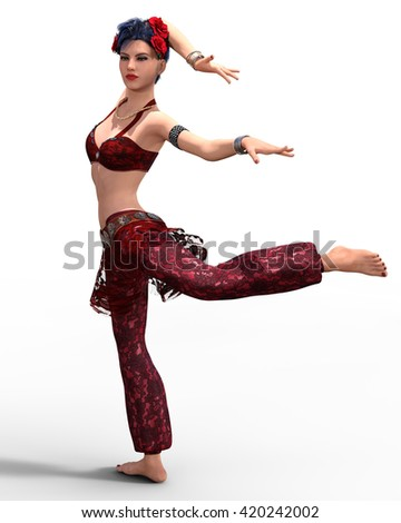 Young beautiful girl dancing tribal fusion belly dance isolated. 3d illustration. - stock photo