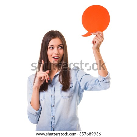 Young beautiful girl holding a red bubble for text, isolated on a white background