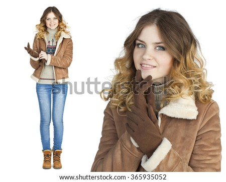 Young beautiful girl in a leather sheepskin coat, isolated on white background - stock photo