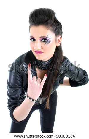 Young beautiful girl in black leather jacket - stock photo
