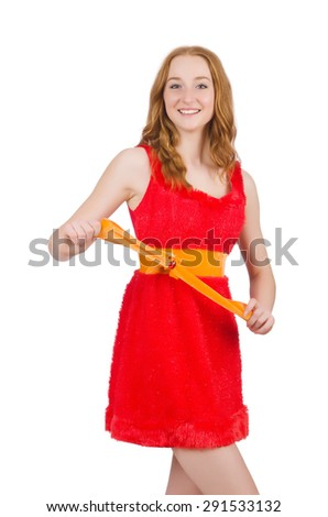 Young beautiful girl in red dress  isolated on white - stock photo