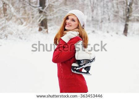 Young beautiful girl on skates.