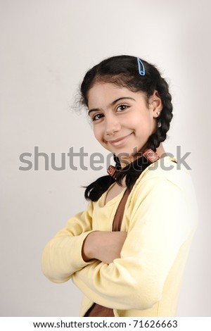 young beautiful girl standing - stock photo