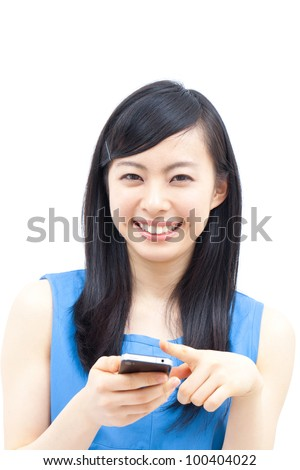 young beautiful girl using mobile phone - stock photo