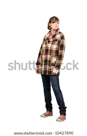 young beautiful girl, wearing wool topcoat  isolated on white