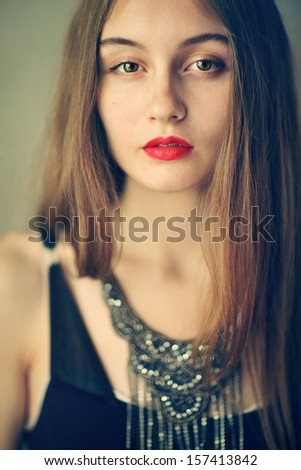 young beautiful girl with a long hair  - stock photo