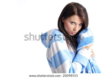Young beautiful girl with bath towel - stock photo