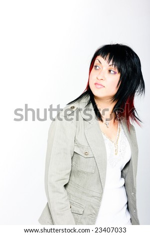 Young Beautiful girl with black and red hair