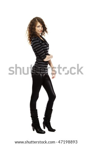 Young beautiful girl with long legs posing